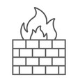 firewall thin line icon fire and security wall vector image