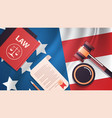 gavel and judge book on usa flag american vector image vector image