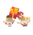 gift box falling to boy and girl vector image vector image