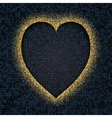 Gold glitter glow heart frame vector image vector image