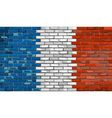 Grunge flag of France on a brick wall vector image vector image