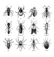 hand drawn dangerous insects set vector image
