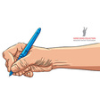 Hand writing with pen detailed vector image vector image