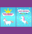 happy birthday little princess card set vector image