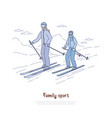 happy mother with child skiing together vector image vector image