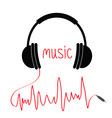 headphones with red cord in shape cardiogram vector image