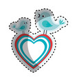 heart and birds icon vector image