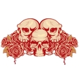 human skulls and rose vector image vector image