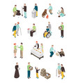 humanitarian charity characters collection vector image vector image