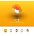 Ice icon in different style vector image vector image