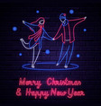 illuminated neon signs winter holiday vector image