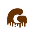 letter g chocolate font sweetness alphabet liquid vector image