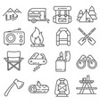 line hiking and camping icons set vector image