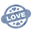 love stamp seal fabric textured icon vector image vector image