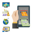 mobile payments icons smartphone vector image vector image
