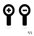 monochromatic increase decrease magnifiers icons vector image