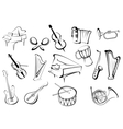 Musical instruments icons in sketch style vector image