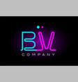 neon lights alphabet bv b v letter logo icon vector image vector image