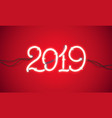 neon sign new year 2019 vector image