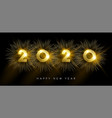 new year 2020 gold party firework greeting card vector image