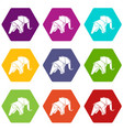 origami elephant icons set 9 vector image vector image