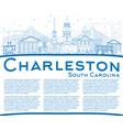 outline charleston south carolina skyline with vector image vector image