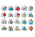 parking color line icons set garage valet vector image vector image