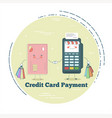 pos terminal and credit card in line art style vector image vector image