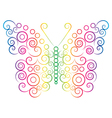 rainbow color butterfly vector image vector image