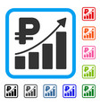 rouble growth trend framed icon vector image vector image
