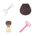 scissors brush razor and other equipment vector image vector image