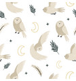 seamless pattern with cute owls and hand drawn vector image vector image