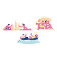 set couple man and woman floating boat vector image