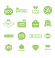 set green labels and badges with leaves vector image