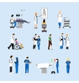 set of doctors and patients in hospital vector image