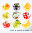 set of fruit juice splash peach orange pear vector image vector image