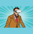 shocked hipsters in vr glasses vector image vector image