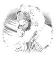 side portrait vintage engraving vector image