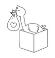 stork with bos in black and white vector image vector image