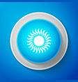 sun icon isolated on blue background circle blue vector image