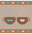Teacups with mustache and lips and hearts love car vector image