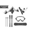 Winter sports elements Snowboard ski symbols vector image