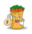 with money bag kebab wrap character cartoon vector image vector image