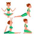 yoga woman poses set girl yoga exercise vector image vector image