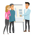 young business man make presentation shows charts vector image