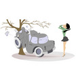 young woman have got into a road accident vector image vector image