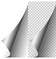 silver metallic realistic paper page corner vector image