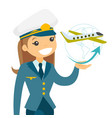 airplane captain in pilot hat vector image vector image