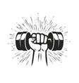 arm with dumbbell gym club fitness logo vector image vector image