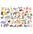 big set cute animals in cartoon style isolated vector image